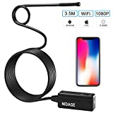 NIDAGE Wireless Endoscope for iPhone Android, WiFi 5.5mm Borescope Inspection Camera 2.0MP HD Semi-rigid Snake Camera for Inspecting Motor Engine Sewer Pipe Vehicle (11.5FT)