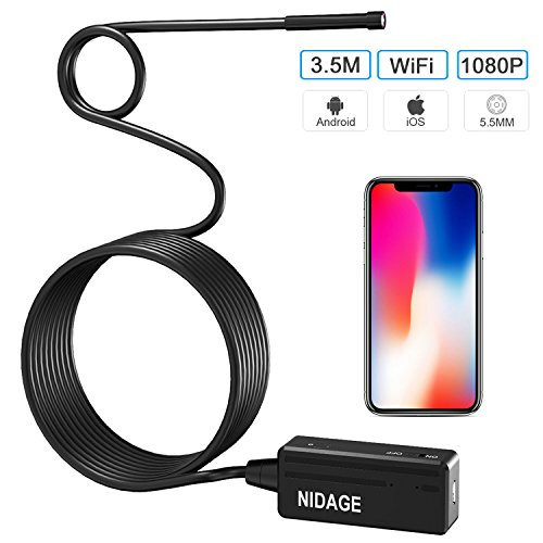 NIDAGE Wireless Endoscope for iPhone Android, WiFi 5.5mm Borescope Inspection Camera 2.0MP HD Semi-rigid Snake Camera for Inspecting Motor Engine Sewer Pipe Vehicle (11.5FT) (Test Diagnostic Grade)