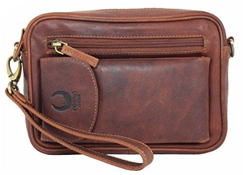 Wrist Bag Leather For Men Women Shoulder Bag Genuine Leather Purse Travel Organizer Crossbody Handmade Vintage with Phone Pocket brown Buffalo
