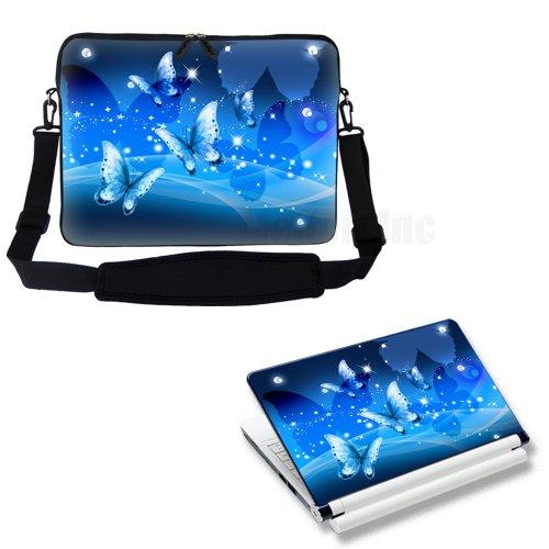 Meffort Inc 15 15.6 inch Laptop Carrying Sleeve Bag Case with Hidden Handle & Adjustable Shoulder Strap with Matching Skin Sticker Deal - Blue Butterfly Design