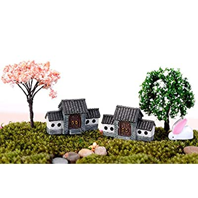 Glumes Mini Resin Village House Fairy Garden Kits Figurines for Miniatures Ornaments Fairies Gardens House Terrarium Kit Dollhouse Supplies DIY Outdoor Decorations Plant Pot Micro Landscaping Decor: Pet Supplies