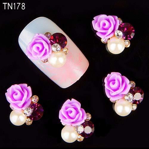 Nail Care & Polish Nail Stikers 10 Pcs 3D Rose Flower Nail Art Stickers Tips Studs Rhinestone Nail Decor Jewelry Easy to Use, Manicure Tool, Beautiful, 3D Rose Flower - TN178-Purple