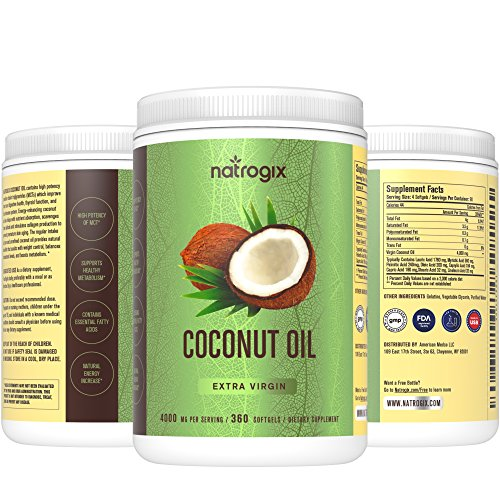 100% Virgin Coconut Oil 4000mg Per Serving 360 Softgels Highest Potency on the Market Improves for Hair, Skin, Heart, Digestive Health, and Healthy Immune System