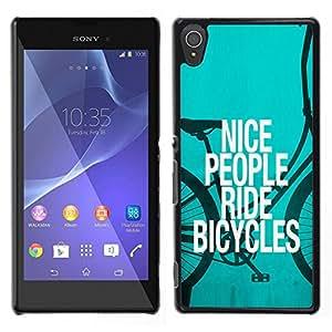 LECELL--Funda protectora / Cubierta / Piel For Sony Xperia T3 -- Niza Bicicletas Gente Ride Quote Eco Verde Estilo de vida --