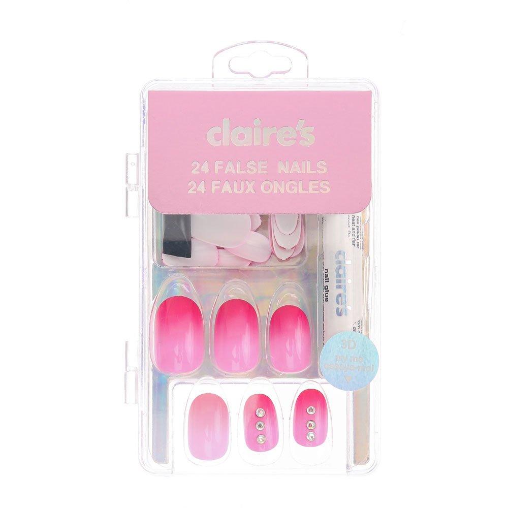 Claire de para niña y mujer adornada Ombre falsas uñas ...