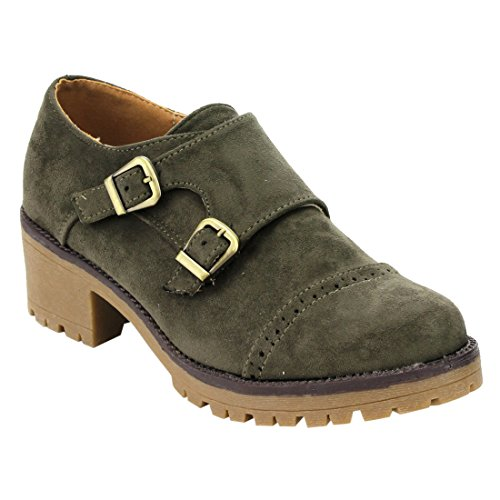 Dress Perforated Heels Buckle Boots with Womens Strap BESTON Olive Chunky Oxford Suede Faux EJ61 wZfFaqY8