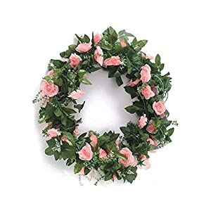 MARJON FlowersArtificial Rose Vine Fake Rhododendron Silk Flowers Garlands Hanging Ivy Plants Home Hotel Office Wedding Party Garden Décor Pink 4