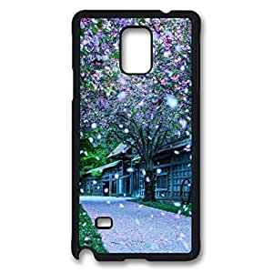 Falling petals Custom Back Phone Case for Samsung Galaxy Note 4 PC Material Black -1210483
