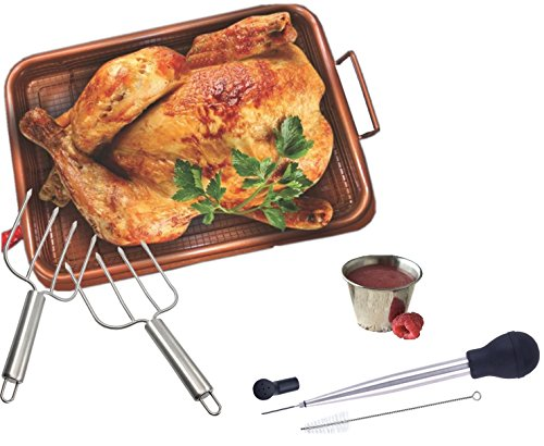 Deluxe Turkey Roaster Pan Chicken Crisper Basket Tray With Stainless Steel Turkey Lifter And Baster & Sauce Cup Set