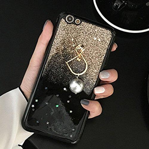 Gold Glitter Powder Full Coverage Schutzmaßnahmen Rückseitige Abdeckung Soft Case mit Perle Anhänger für iPhone 6 Plus & 6s Plus by diebelleu