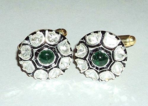 Vintage Inspire Natural Uncut Polki Diamond 925 Sterling Silver Gold Finish Gift Cufflinks Men (Gemstone Gold Cufflinks)