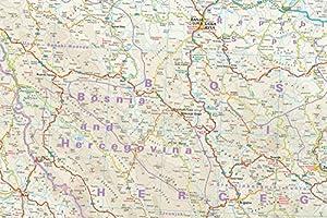 Bosnia y Herzegovina, Montenegro mapa de carreteras impermeable ...