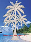 """Oval Palm Tree Etched Window Decal Vinyl Glass Cling - 21"""" x 33"""" - Clear with White Design Elements"""