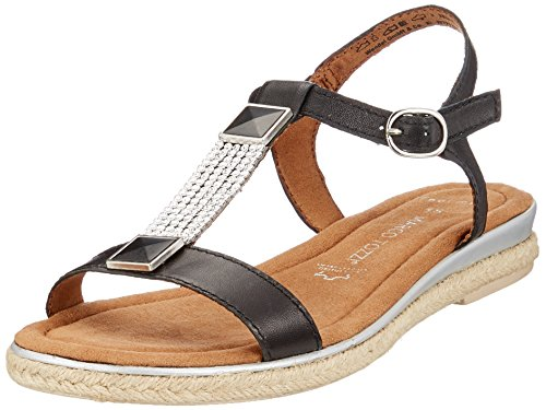 MARCO TOZZI premio Women's 28133 T-Bar Sandals Black (Black Antic 002) baPviihfv8