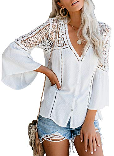 (HOTAPEI Womens Ladies Summer Work Crochet Lace Embroidered Flowy Long Bell Sleeve Chiffon Button Down Front Sexy V-Neck Loose Fit Blouses and Tops for Elegant Shirts White)