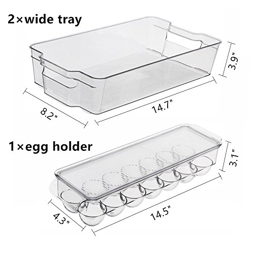 MineDecor 6 Piece Refrigerator Organizer Set Kitchen Food Storage Cabinet Clear Freezer Storage Containers Include Drink Holder Egg Tray For Fruits Vegetables Milk by MineDecor (Image #1)