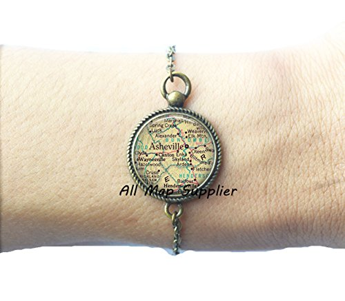 Charming Bracelet,Asheville, North Carolina map Bracelet, Asheville map Bracelets, map jewelry Asheville Bracelet, Asheville - Store Atlantic County