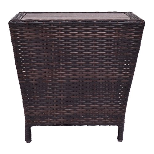 Used White Wicker Coffee Table: TANGKULA Wicker Table Outdoor Indoor Sofa Side Table
