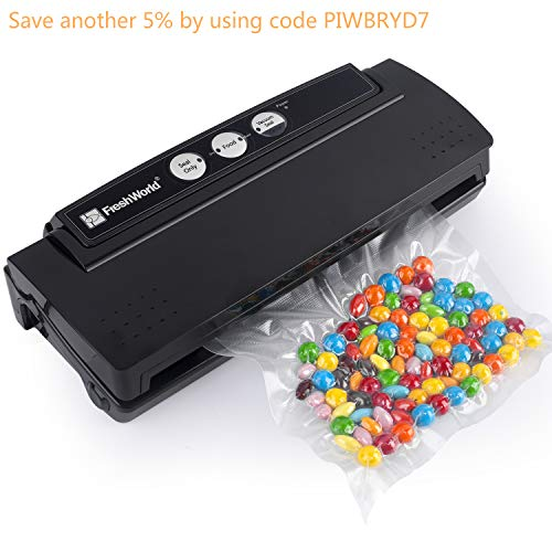 Fresh World Vacuum Sealer, 4-in-1 Automatic Vacuum Sealer, Dry & Moist Food Mode, 10 Sealer Bags for Free, Vacuum Packing Machine for Food Preservation,Paperwork,Jewelry and ()