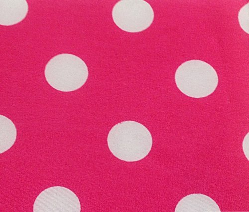 3/4th Inch Polka Dot Poly Cotton White Dot on Hot Pink 60 Inch Fabric by the Yard (F.E.) -