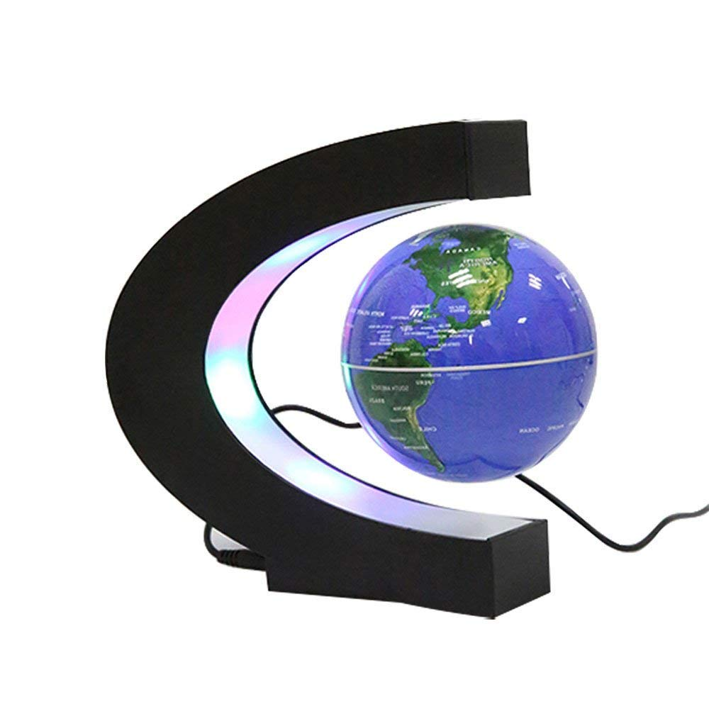 ZHANG Floating Globe mit LED-Leuchten C-Form Magnetschwebebahn Floating Globe World Map für Schreibtischdekoration