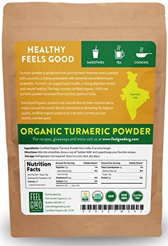 Organic Turmeric Root Powder - 32oz Resealable Bag (2lbs) - 100% Raw w/Curcumin From India - by Feel Good Organics by Feel Good Organics (Image #1)