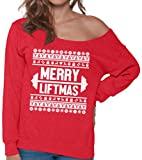 Pekatees Merry Liftmas Sweatshirt Ugly Christmas Sweaters Off Shoulder Funny Lifting Sweatshirts for Workout Fitness Xmas Red S