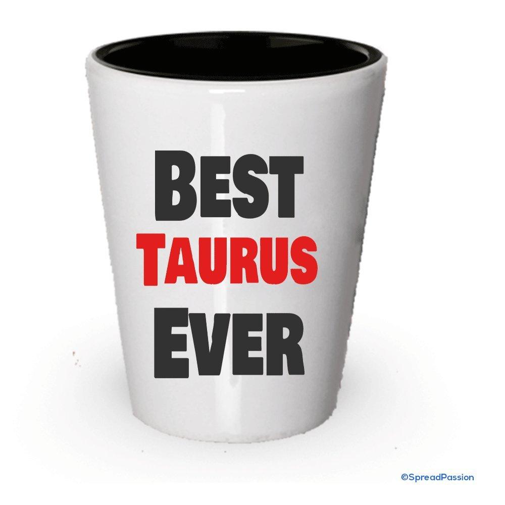 Mejor Taurus Ever Shot Glass White Exterior and Black Interior ...