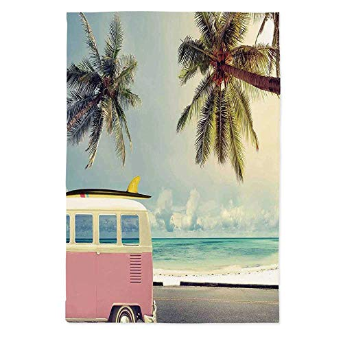 Surf Decor Polyester Tablecloth,Minivan on The Beach Retro Inspired Vocation Theme Clouds in Summer Sky Honeymoon Destination for Wedding Banquet Restaurant,70.1''W X 90.2''L