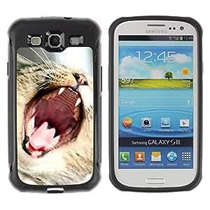 Fuerte Suave TPU GEL Caso Carcasa de Protección Funda para Samsung Galaxy S3 I9300 / Business Style American Shorthair Cat Yawning Curl