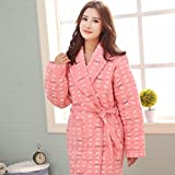 GL&G Cotton breathable pajamas thicker long coral cashmere lady comfort bathrobe,Pink,L