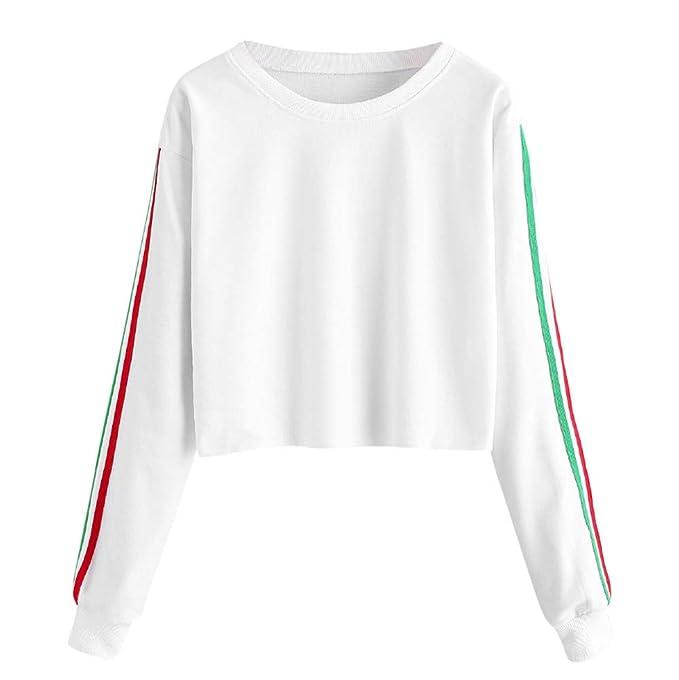 Camisetas Larga Tops 2018 Blusas Mujer Fiesta Deportivo SuéTer Color SóLido DetráS De La Cinta De Rainbow Manga Larga: Amazon.es: Ropa y accesorios