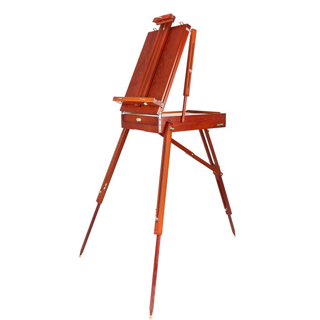 JSFQ 折り畳み式油絵ボックス木製イーゼルは、持ち運びが容易で、上げ下げすることができ、成人学生が使用することができます イーゼル (色 : 赤)  赤 B07QJVQMNL