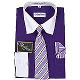 Berlioni Boys Two Tone Wedding Dress Shirts Kids Long Sleeve Tie & Hanky-PURPLE-14