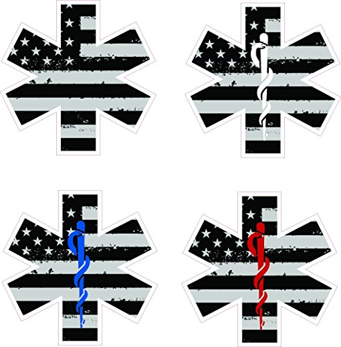 Star of life w/ rod of Asclepius decal with tattered / distressed black and white American flag- Medical EMS EMT Paramedic Medics - White Usa Electronics