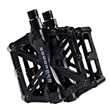 "Aluminium Alloy CNC Ball Bearing Bike Pedals Road Bicycles Fixed Gear MTB Cycling Flat Pedal 9/16"" (Black)"