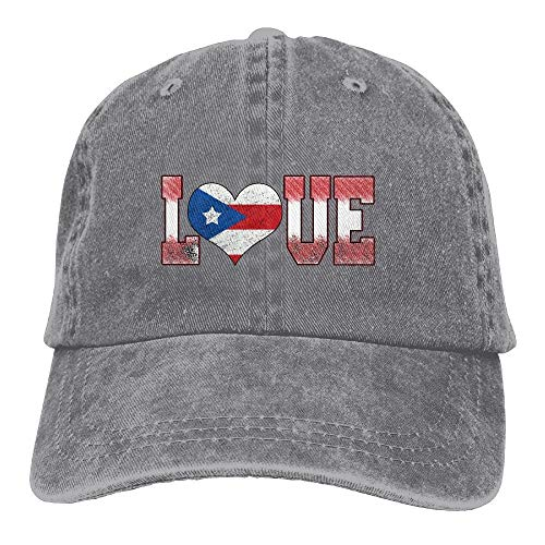 (Ted GIen Love Puerto Rico Puerto Rican Flag Classic Unisex Baseball Cap Adjustable Washed Dyed Cotton Ball Hat Black)