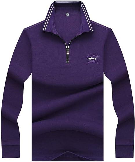 NISHISHOUZI Polo de Manga Corta para Hombre Polo Polos,Color Púrpura Camisa Polo Casual de Negocios 3D Embroidery Hombres Camisetas de Manga Larga y Cremallera Hombres Collar Polo @L: Amazon.es: Deportes y aire