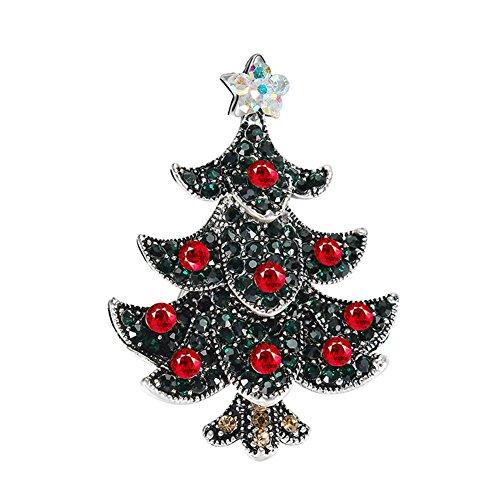 JAJAFOOK Elegant Colorful Cubic Zirconia Craft Christmas Tree Brooch Pin for Xmas Christmas (Elegant Tree Christmas)