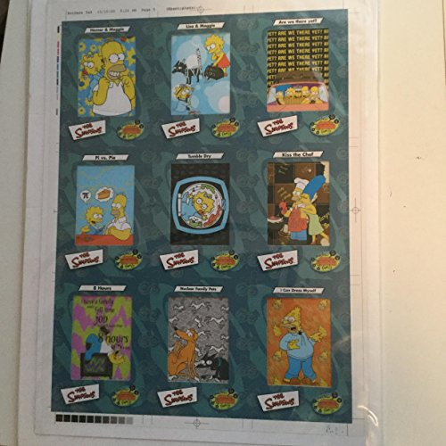 The Simpsons rare 9 cards animated film cels uncut sheet 1990s