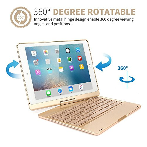 Price comparison product image iPad Air 2 Bluetooth Wireless Keyboard, Businda Backlit Keyboard Carrying Holder Auto Sleep / Wake Flip 360 Degrees Rotate Slim Folio Smart Cover
