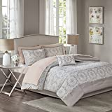 JLA Home INC Madison Park Essentials Voss Comforter Set Twin Size Bed In A Bag - Blush White, Geometric – 7 Piece Bed Sets – Ultra Soft Microfiber Teen Bedding Girls Bedroom