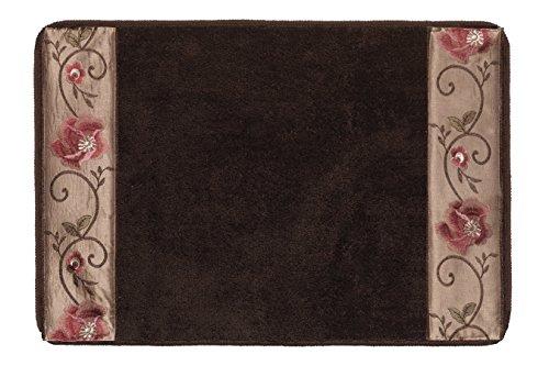 "Popular Bath Bath Rug, Larissa Collection, 21"" x 12"", Rose Design"