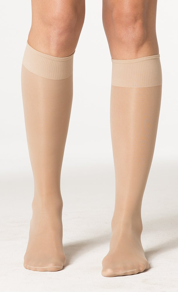 Women's Sheer Fashion 15-20 mmHg Closed Toe Knee High Sock Size: B (7.5-9.5), Color: Natural 33