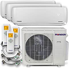 Pioneer brand multi split heat pump system, complete set. System components include: one multi zone outdoor unit, matching multiple wall mount indoor units, piping and accessory kits and remote controllers. Pioneer multi split systems are ava...