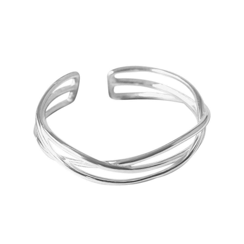 YOMXL Exquisite Hollow Ring 925 Sterling Silver Open Cuff Ring Finger Ring Jewelry Engagement Ring White Openwork Rings