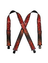 CTM® Men's Elastic Clip-Ends 2 Inch Flame Print Suspenders, Red