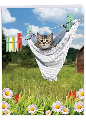 XL 'Hang in There Baby' Congratulations on New Baby Card With Envelope 8.5 x 11 Inch Cute Card with Kitten on a Clothesline, Large Congratulations Greeting for Baby, Parents, Baby Shower J6474BBBG ()