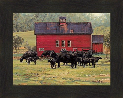 By The Red Barn by Bonnie Mohr 16x20 Black Angus Cows Calf Cattle Farm Art Print Wall Décor Framed Picture (2