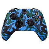 xbox 1 control covers - MXRC Silicone rubber cover skin case anti-slip Water Transfer Customize Camouflage for Xbox One/S/X controller x 1(blue)